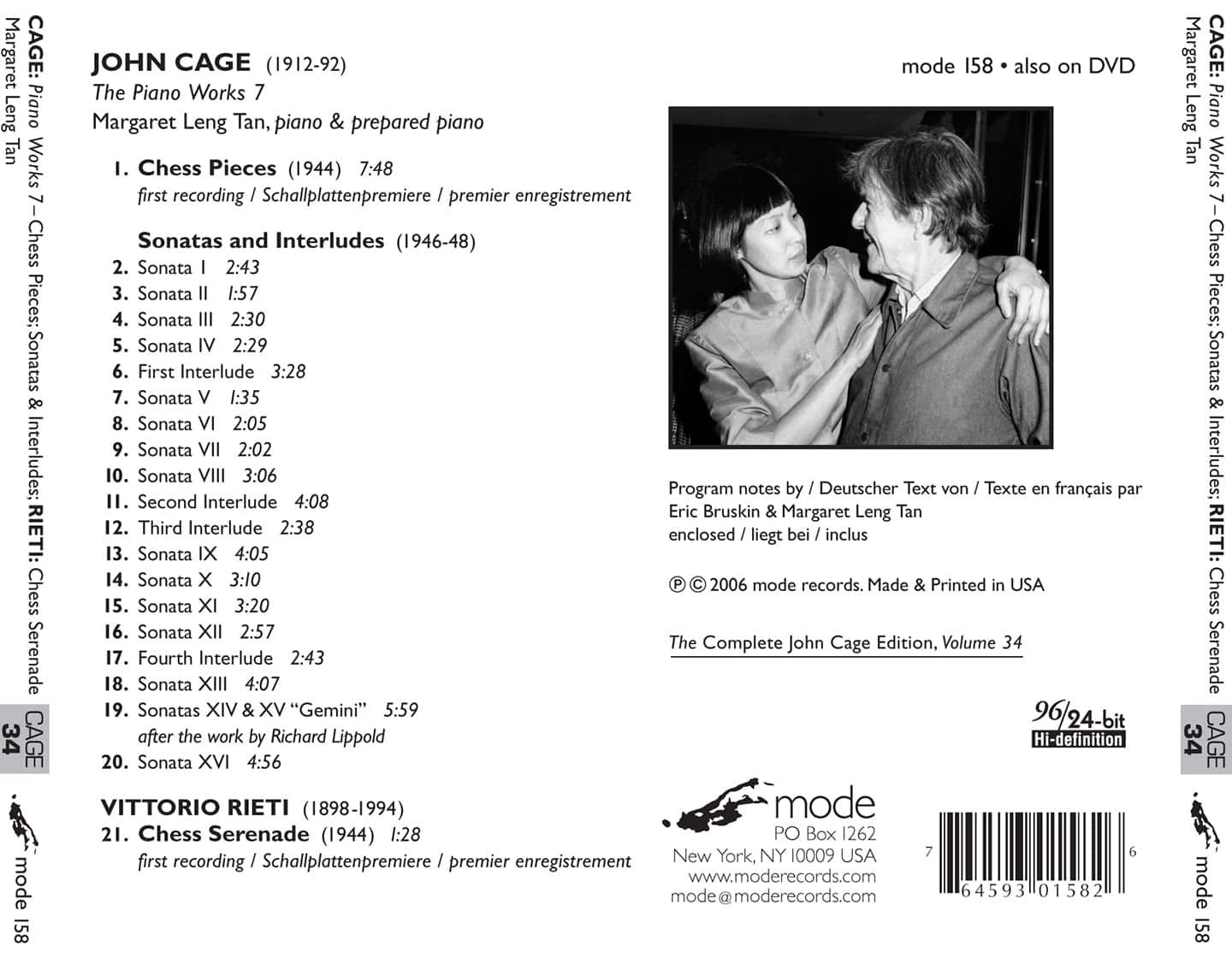 Cage Edition 34–The Piano Works 7 – CD