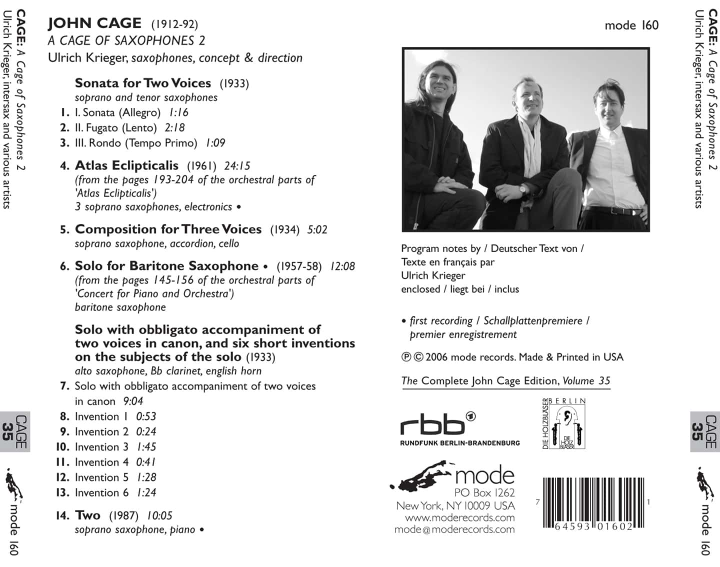 Cage Edition 35–A Cage Of Saxophones 2