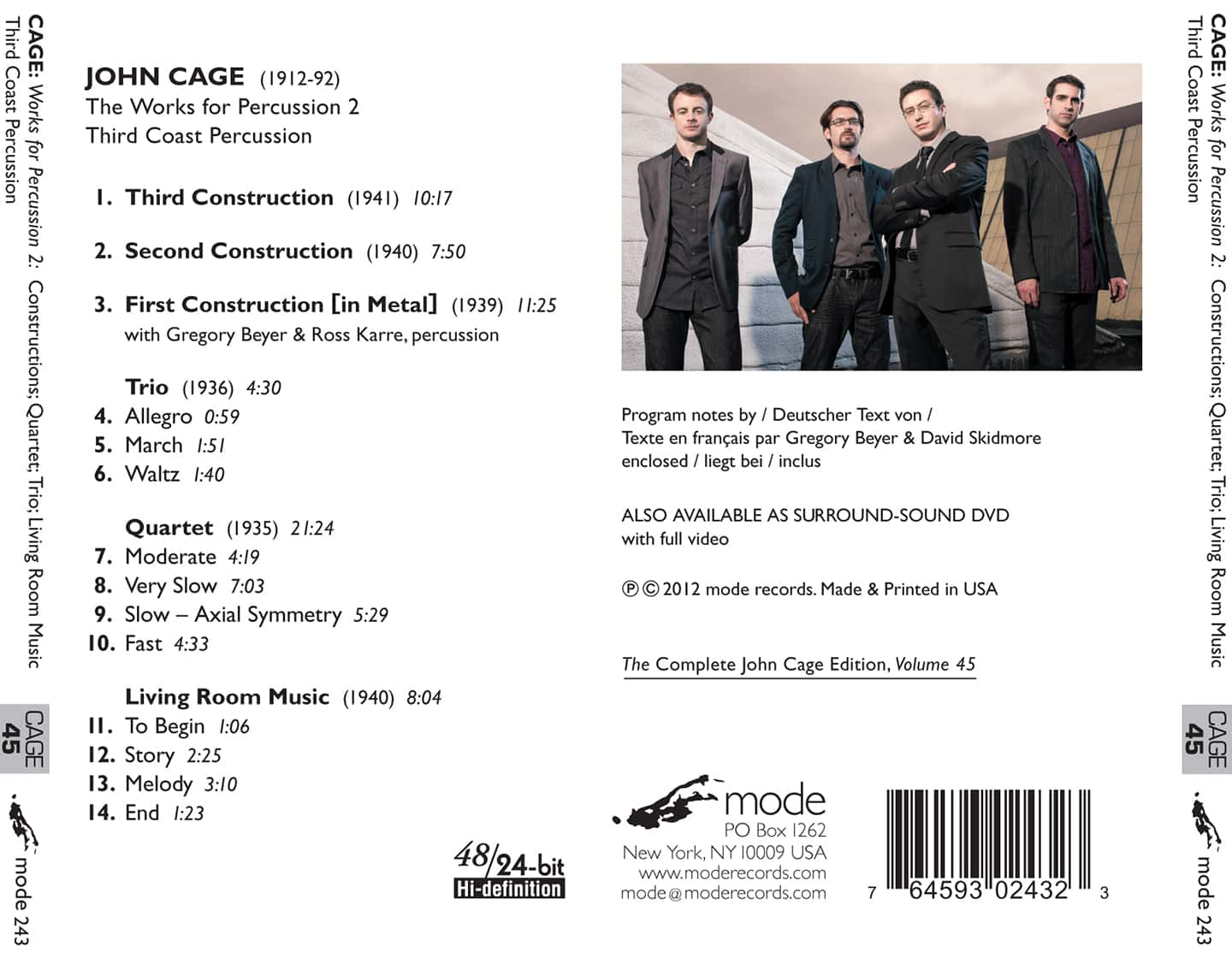 Cage Edition 43 – The Works for Percussion 2 – CD